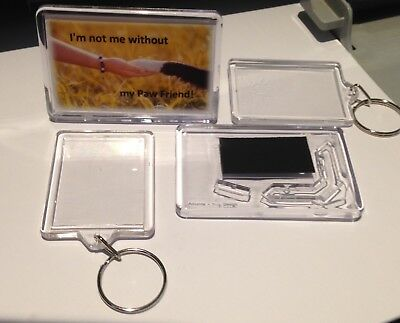 2 key rings 45x35mm + 1 Stand up Photo Frame 75 x 50mm