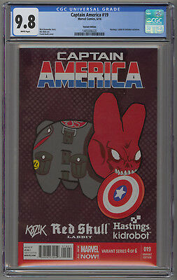 Captain America 19 CGC 9.8  Hastings Kidrobot Variant.  Red Skull Cover.  WP.