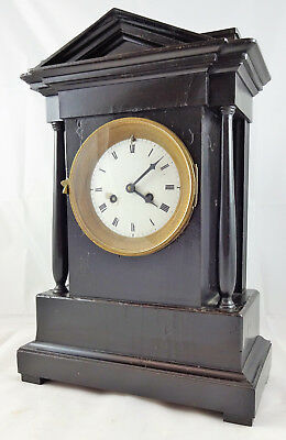 Antique Black Wooden Mantel Clock