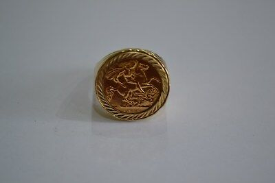 9ct Gold Half Sovereign Ring Size V Solid Design Ladies Gents Heavy