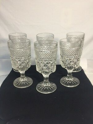 Vintage Cut Glass Wine,water,champagne Set 6 Quilted/diamond Pattern