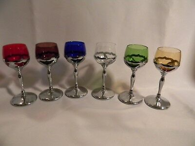 Vintage Farber Bros NYC Chrome and Colored Glass Cordial Glasses - Set of Six