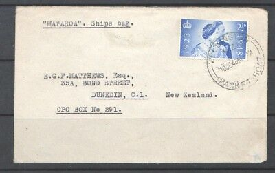Great Britain 1948 cover to New Zealand cancel WELLINGTON PACKET BOAT