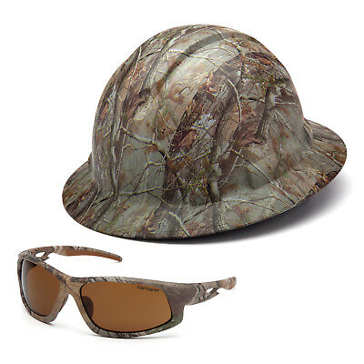 Combo - Pyramex Camouflage Hard Hat & Carhartt Camouflage Safety Glasses