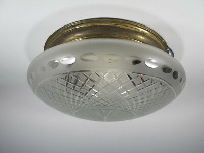 Antique French Brass Ceiling Light with Glass Shade # 10873
