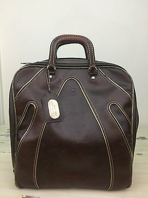 BRUNSWICK - Vtg 60s-70s Large Brown Bowling & Shoe Bag w Gold Accents - MUST SEE