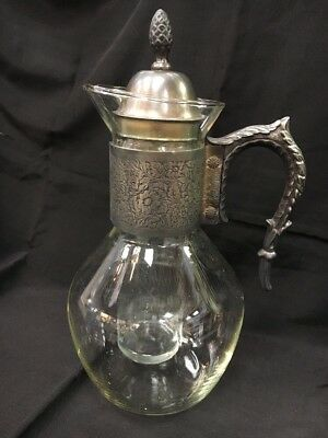 Glass & Silverplate Carafe With Ice Holder Insert