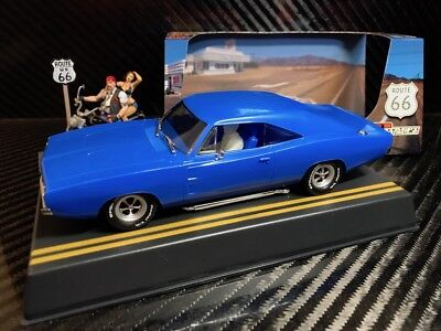 Pioneer Slot Car J-Code Special Dodge Hemi Charger, Blue 'route 66' Prototype