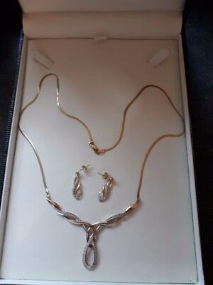 9ct gold & diamond necklace and earring set  birthday gift anniversary christmas