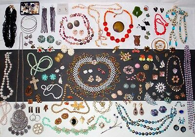 HUGE LOT of Unique Quality Vintage Jewelry Glass Beads Rhinestone REPAIR CRAFTS