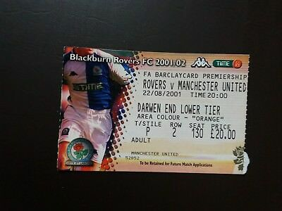 Blackburn v Manchester United League Ticket Aug 2001