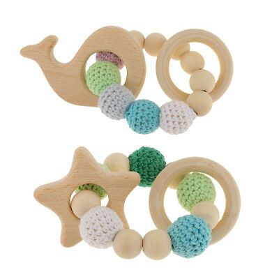 2Pcs Star Whale Wood Baby Teether Teething Bracelet Ring Bead Hand Chain Toy