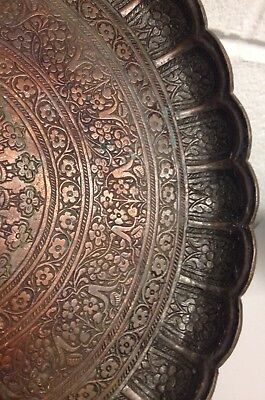 Early Antique Persian Islamic Tinned Copper Foliate Rim Floral Tray