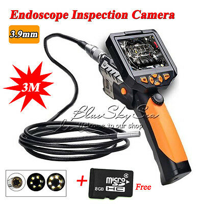 Inspection Camera 3.9 mm Borescope Endoscope Scope 3M Zoom 360° Rotate+Free 8GB