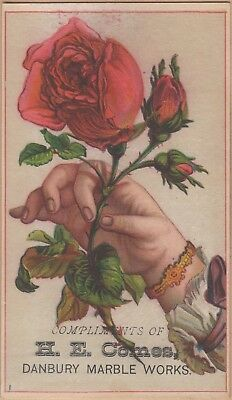 Victorian Trade Card-Danbury (CT) Marble Works-H E Comes-Hand with Rose