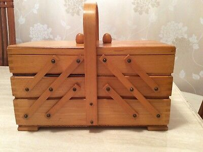 Vintage Wooden Cantilever Sewing Box