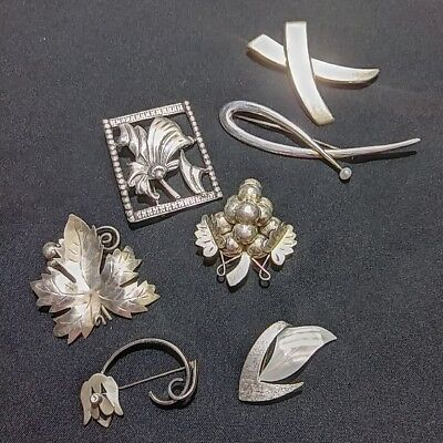 Vintage Sterling Silver Brooch Lot Not Scrap Taxco Mexico