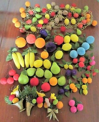 Lot of 40 Vintage Flocked Velvety Fruit Christmas Ornaments and Fruit Garland !