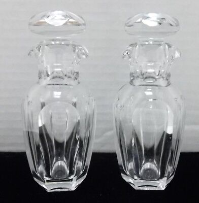 Baccarat Crystal Pair Double Pour Spout Cruets with Stoppers Stamped & Numbered