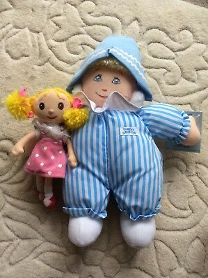 Vintage Andy Pandy and Looby Lou / Looby Loo collectible character cloth dolls