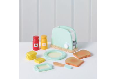 Wooden Toaster with 9 accessories Pretend Children Christmas Gift New