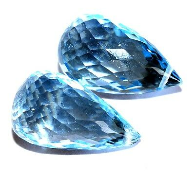 14.63 Cts Natural Blue Topaz Tear Drops Pair 14x8 mm Side Drilled Gemstones