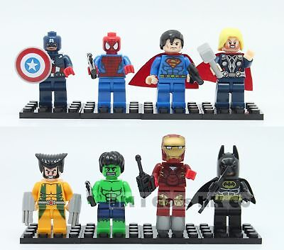 8 mini figurines marvel super heros blocks compatible lego