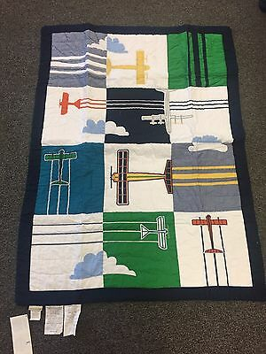 NWT $99 Pottery Barn Baby, Airplane Toddler Quilt, 100% Cotton