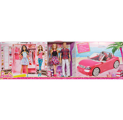 Barbie Convertible Car And Closet,2 Dolls,1Glam Car,1Ultimate Closet,accessories