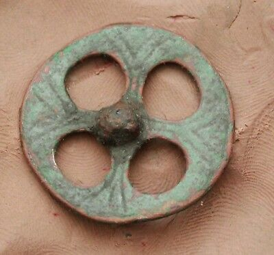 L6 Ancient Celtic Bronze Ring With Decoration  D=30mm 3g
