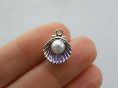 BULK 30 Pearl in oyster shell charms antique silver tone FF276