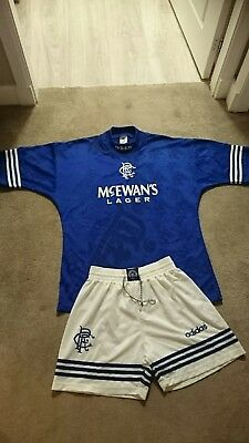 Glasgow Rangers 1995-96 Home top and shorts Adidas strip shirt kit Very Rare
