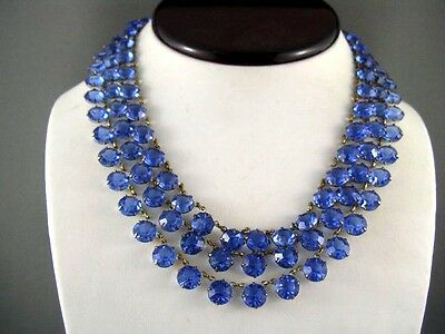 EXQUISITE! Early Vtg RARE Triple Strand Blue Open Back Crystal Drippy Necklace