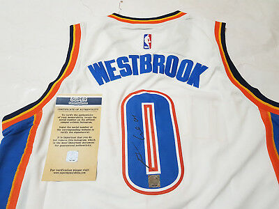 #0 Russell Westbrook Hand Signed Autographed NBA Oklahoma City Thunder Jersey