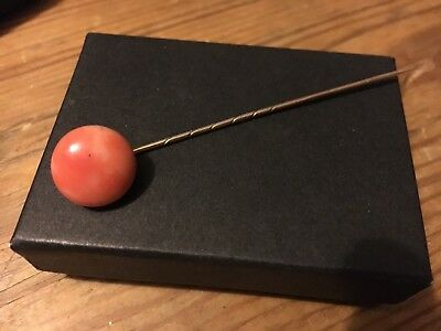 Lovely Antique Coral & Gold ? Stick Pin Brooch