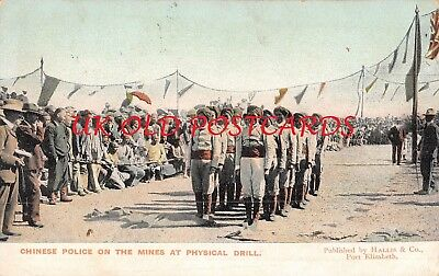 South Africa - Chinese Police on the Mines at Physical Drill, used 1910.
