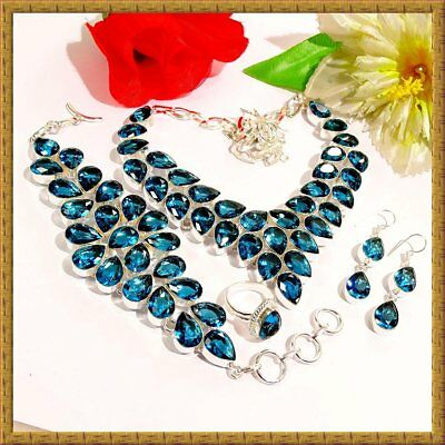 Lovely Indicolite Gemstone 925 Sterling Silver Jewelry Set 34316