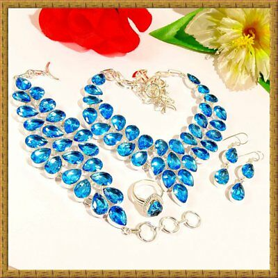 Exclusive London Blue Gemstone 925 Sterling Silver Jewelry Set 34313