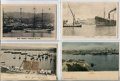 ---QC32 shipping AUGUSTA-CATANIA-MESSINA-TRAPANI HARBOUR different ships X 4---