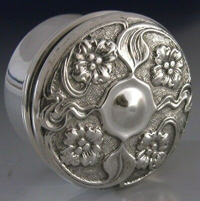 Sterling Silver Art Nouveau Snuff / Pill Box 1901 English Antique