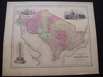 1855 Colton Atlas Map Washington DC + Landmarks Rare Antique 162 Yrs Old