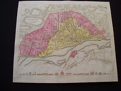 1831 SDUK Map Warsaw Poland City Plan Rare Antique 186 Yrs Old