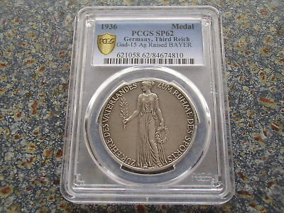 Third Reich 1936 Olympic Games Berlin PCGS SP 62 Edge Bavaria mint silver medal