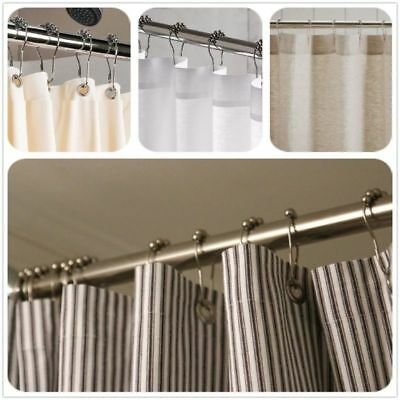 6Pcs/Set Rustproof Stainless Steel Shower Curtain Rings Hooks with Roller Ball