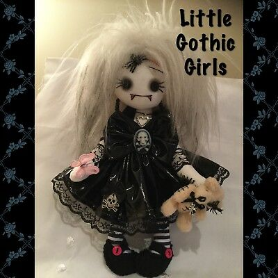 """Santia the 8"""" Gothic Vampire hand made rag doll by Little Gothic Girls"""