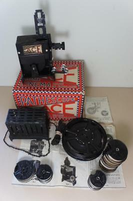 Pathescope boxed Ace 9.5mm projector with Jack Hobbs cricketer & other films