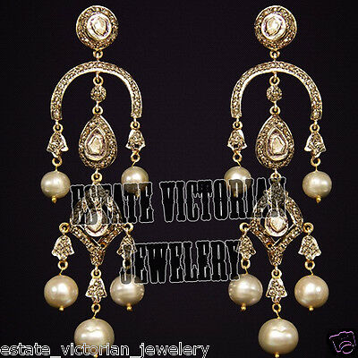 Victorian Inspired 4.65cts Rose Antique Cut Diamond Pearl Silver Jewelry Earring