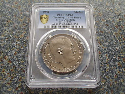 Scares Third Reich Silver Medal 1938 Unification Germany Austria C113 PCGS SP 64