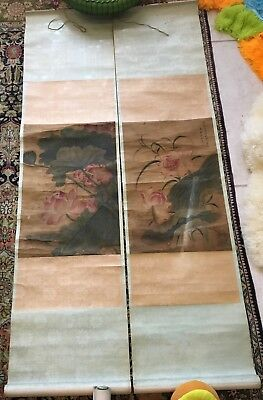 2 Old Chinese Japanese Scroll Painting Colored Lotus Flowers On Silk Red Seal