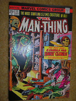 MAN-THING # 15 GIL KANE RICO RIVAL 25c 1975 BRONZE AGE OCCULT MARVEL COMIC BOOK